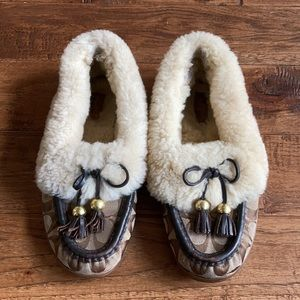Coach Fiona Signature Moccasin Shearling Slippers